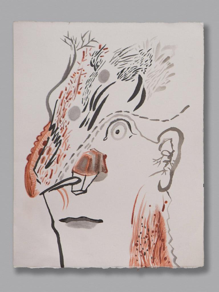 Hout, tekening inkt & kleurpotlood 2013, 33 x 25,2 cm
