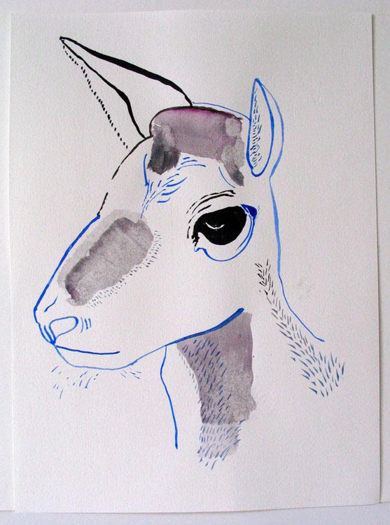 Hertenkop, inkt en waterverf op papier 2006, 33 x 24 cm