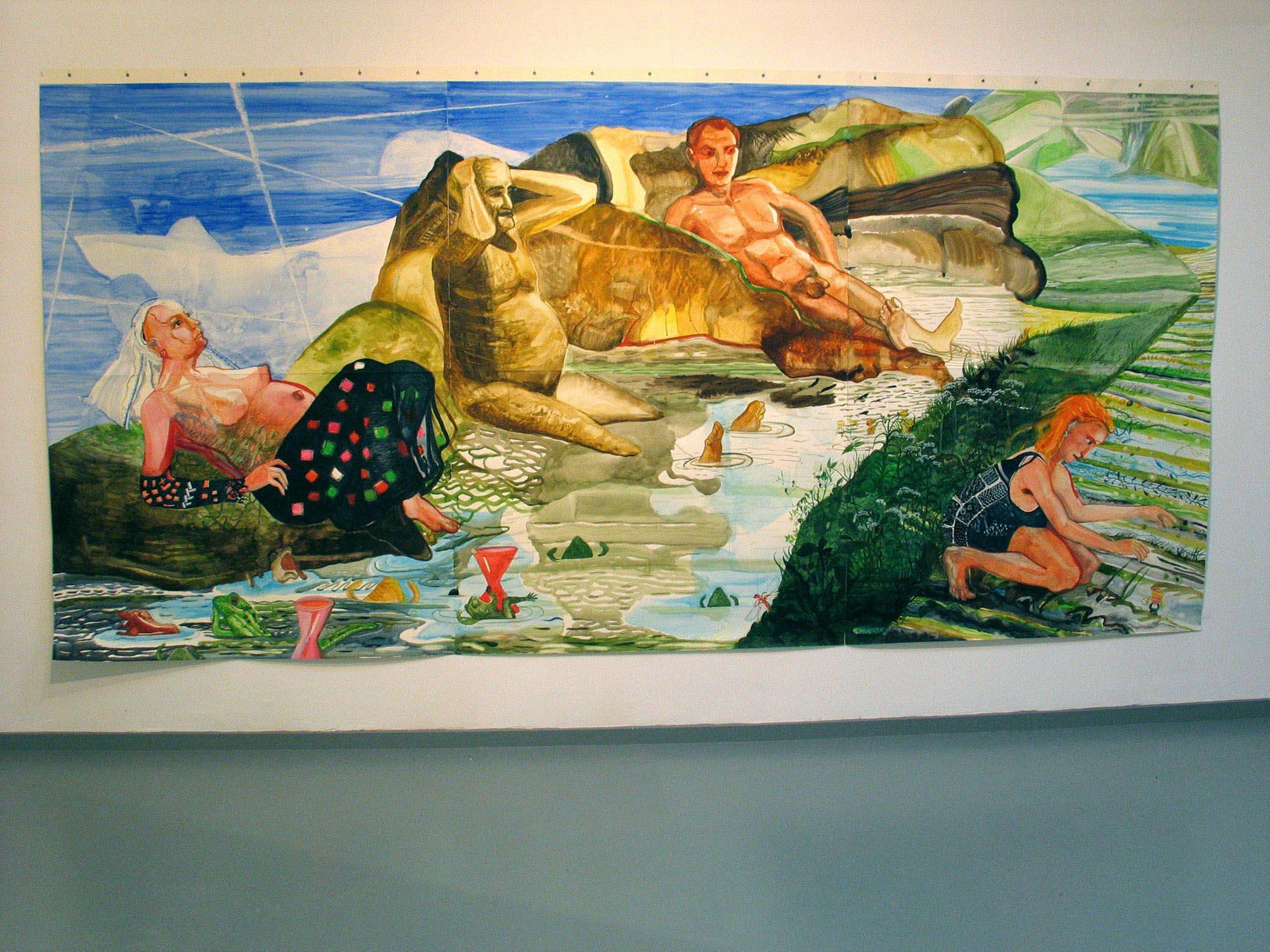 Aanlanden, tempera en waterverf op papier 2006, 2.00 x 4.20 m