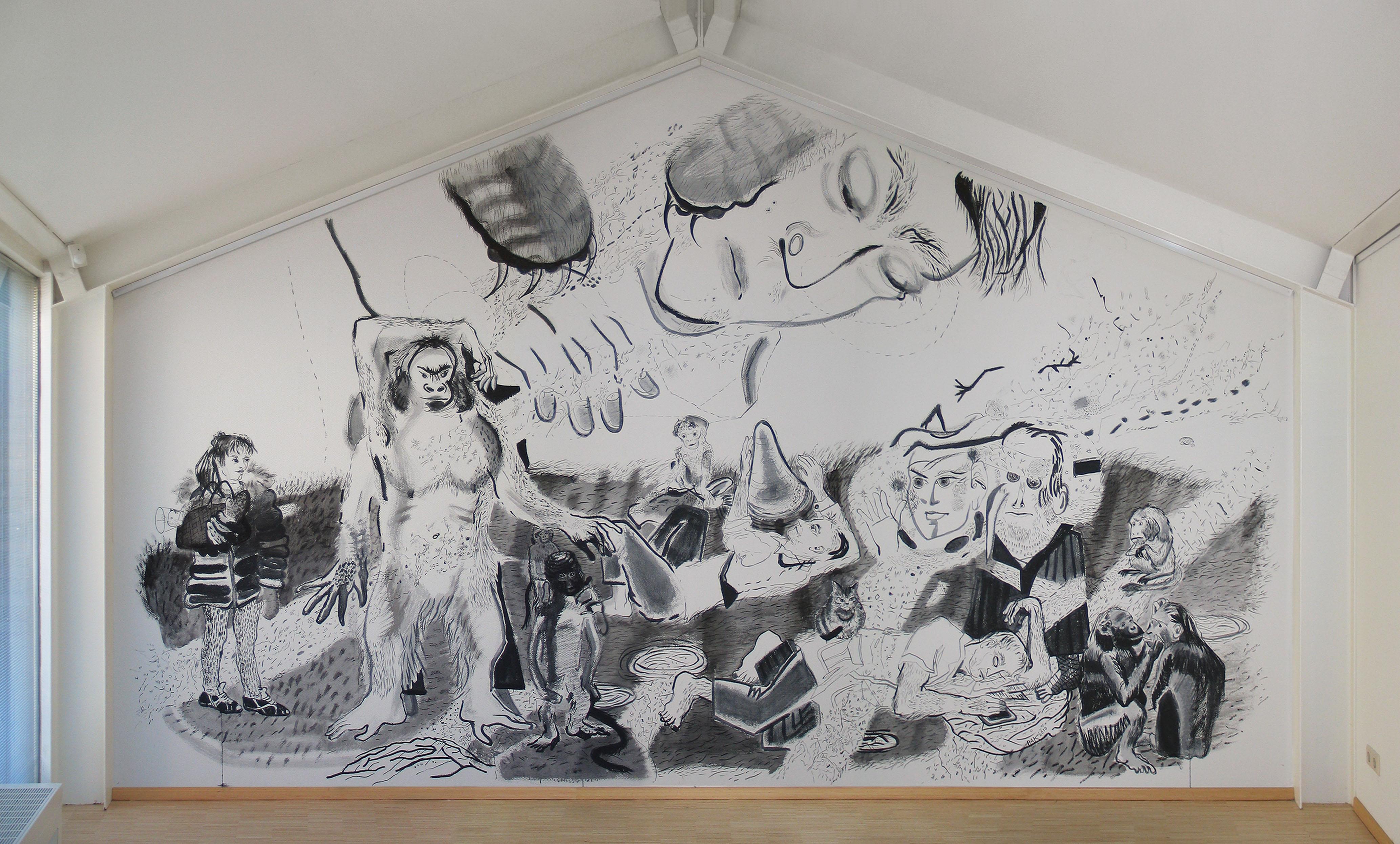 Apenrots, tijdelijke muurtekening inkt in Kunstuitleen, project 'buitengewoon', Hoorn.
