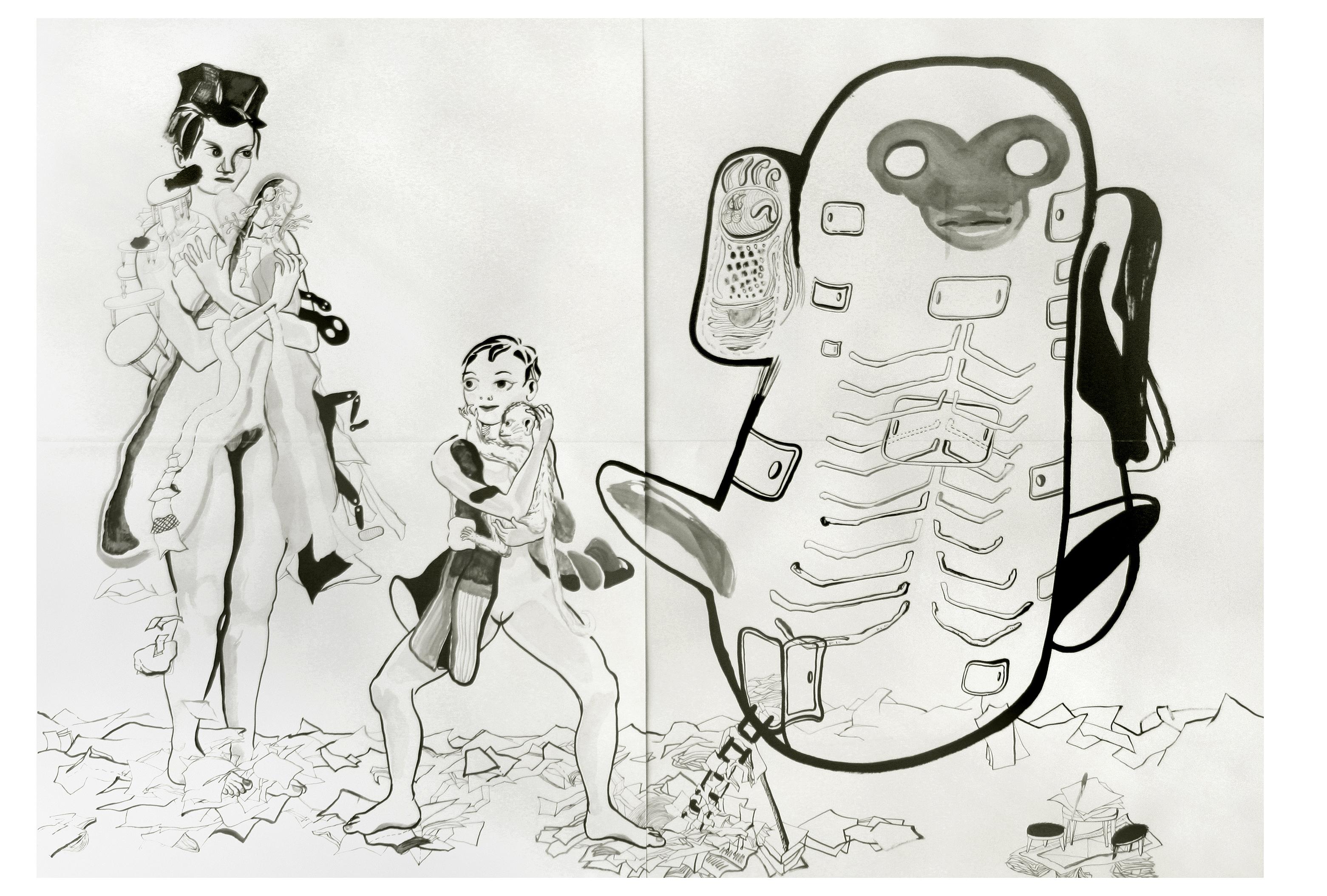 Capsule, inkt op papier 2002, 2.00 x 2.80 m
