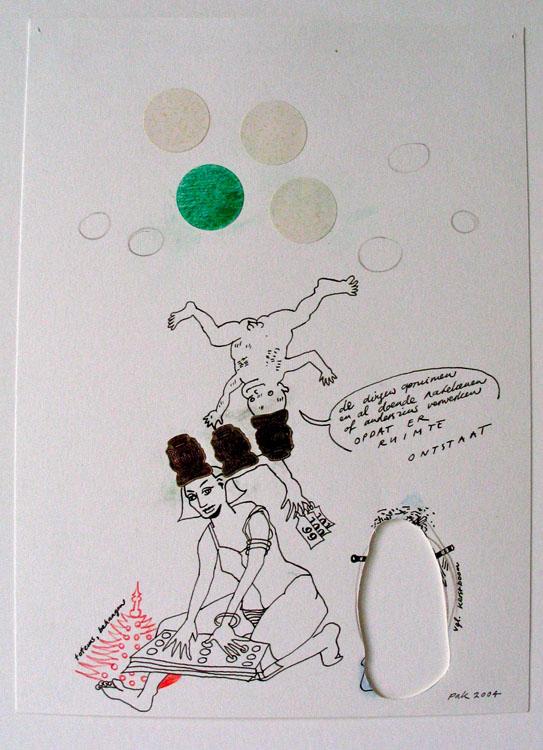 De dingen opruimen, inkt, potlood en collage op papier 2004, 26,3 x 19 cm