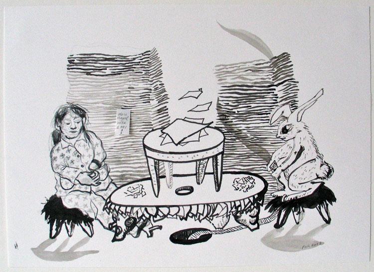 Duo (vrouw en konijn), inkt en potlood op papier 2003, 21 x 29,7 cm