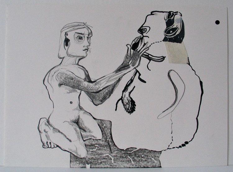 Kolos, potlood, inkt en collage op papier 2006, 26 x 36 cm