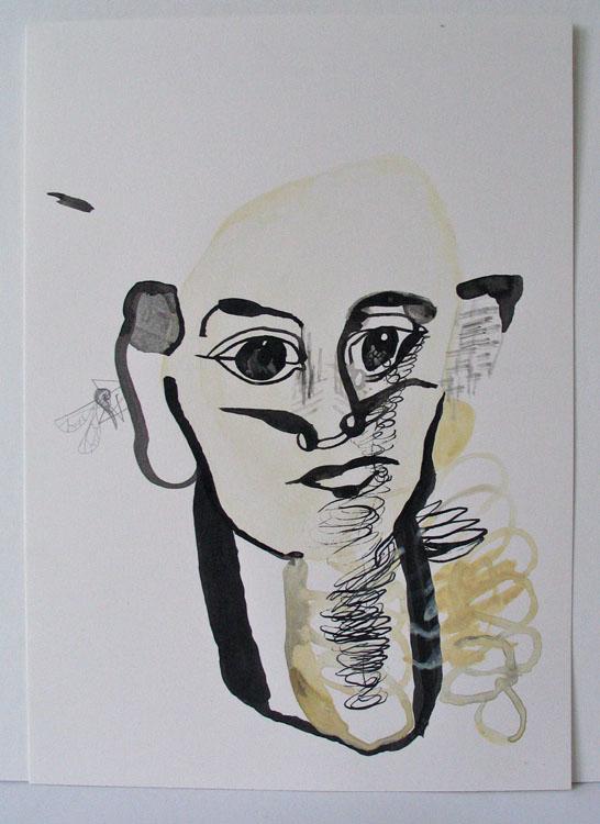 Kop met mug, inkt, potlood en waterverf op papier 2002, 29,7 x 21 cm