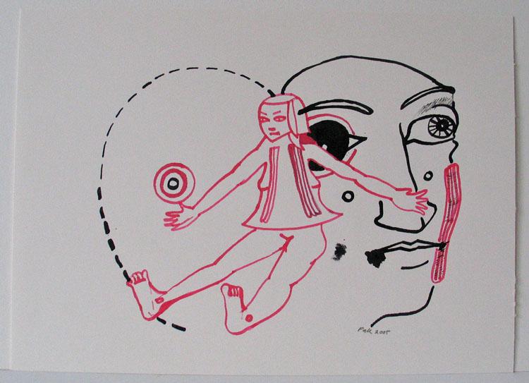 Kop & roze meisje, tekening inkt en ecoline 2005,