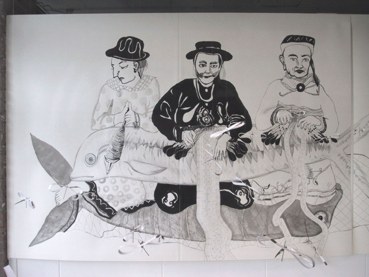 Liggen, inkttekening 2001, 1.40 x 4.00 m (linkerdeel)