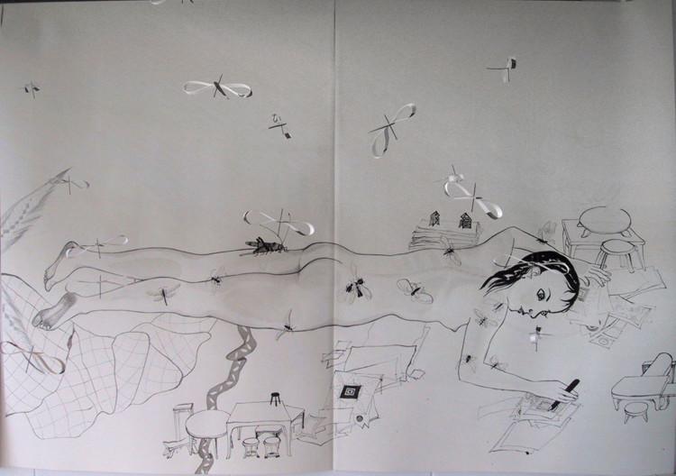 Liggen, inkttekening 2001, 1.40 x 4.00 m (rechterdeel)