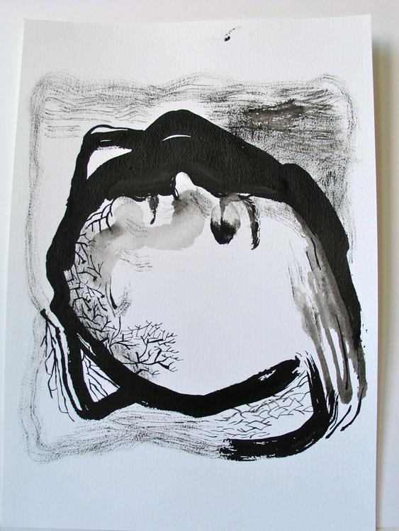 Liggend portret, inkttekening 2005, 50 x 34 cm, een uit serie van 7