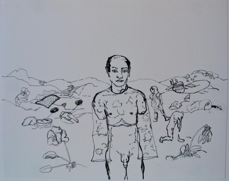 Man in veld, inkt op papier 2004, 24,2 x 29,9 cm