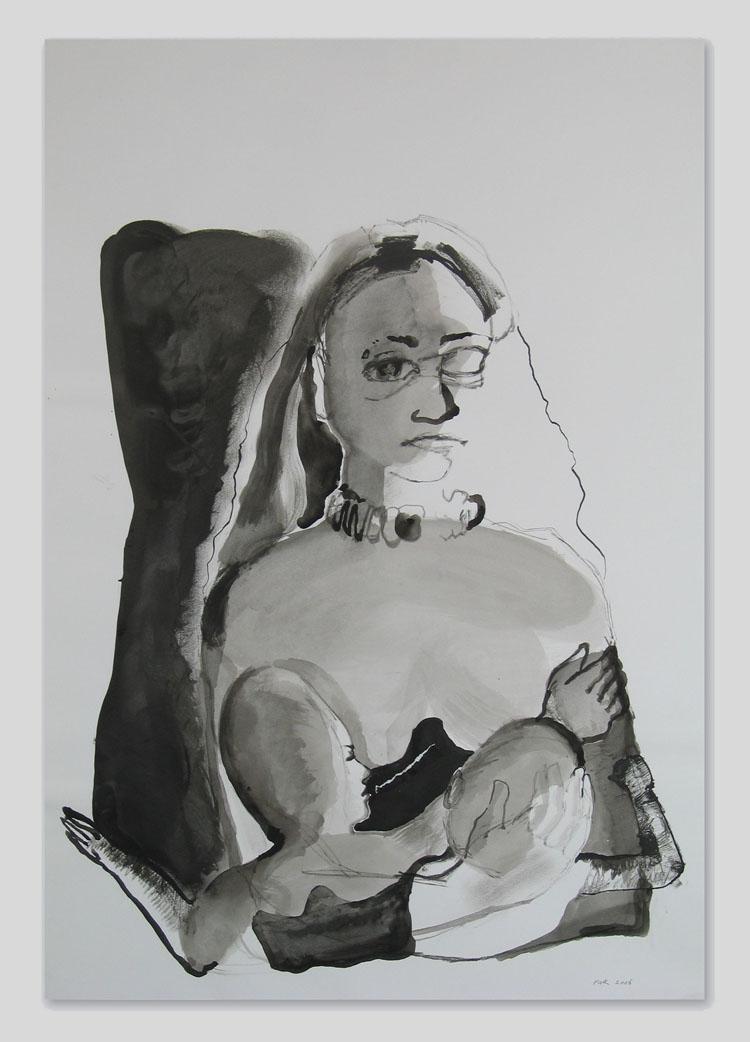 Moeder en kind, inkt op papier 2006, 100 x 70 cm