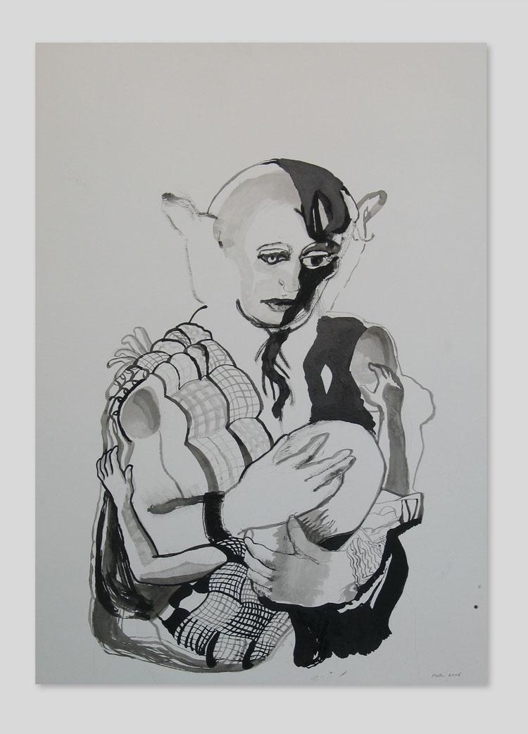 Moeder en kind 2, inkt op papier 2006, 100 x 70 cm
