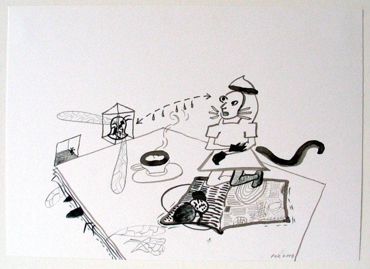 Muis en insecten, inkt en potlood op papier 2003, 21 x 29,7 cm