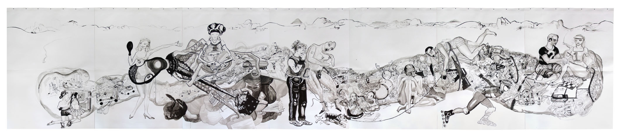 Necessary Objects, inkt op papier 2004, 2.00 x 9.60 m