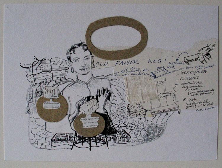 OUD PAPIER WEG! inkt, potlood en collage op papier, 19,2 x 26,4 cm