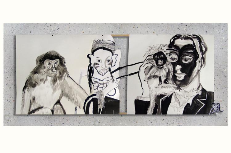 tekening Primates 1 (tweeluik), inkt en collage op papier, 70 x 160 cm, 2009