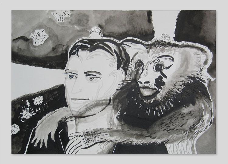 Primates 2, inkttekening 2009, 70 x 100 cm