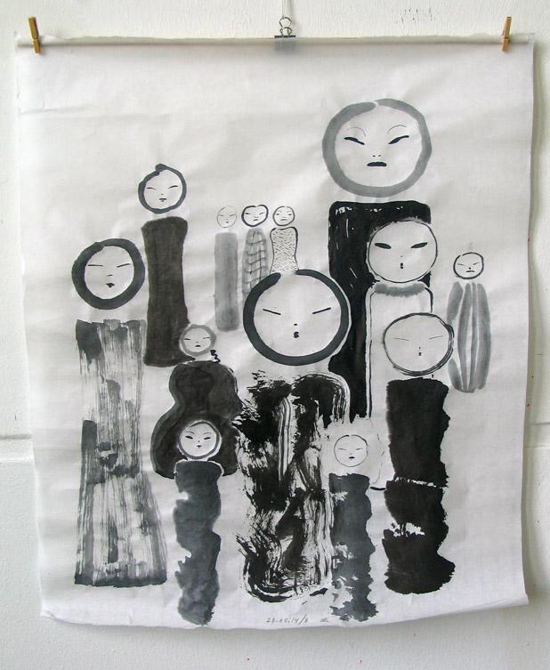 Staande figuren, Japanse inkt op Wenzhou papier 2014, ca. 55 x 46,2 cm, een uit reeks van 16