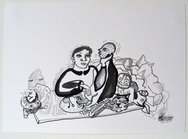 Vrouw met koppen, inkt en potlood op papier 2003, 21 x 29,7 cm
