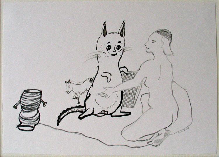 Vrouw met opblaasbeest, inkt en potlood op papier 2003, 21 x 29,7 cm