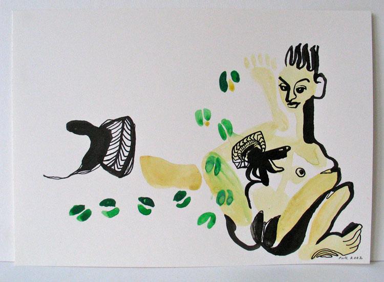 Zittend naakt, inkt en waterverf op papier 2002, 21 x 29,7 cm
