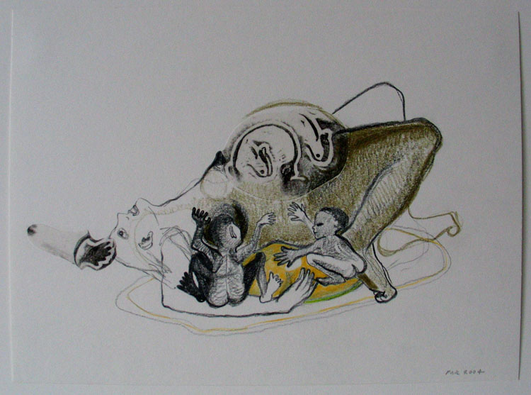 Zwangere, (kleur)potlood en collage op papier 2004, 19,3 x 26,3 cm