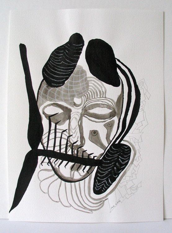 Donkere kop, inkt, pastel en potlood op papier 2002, 33 x 24 cm
