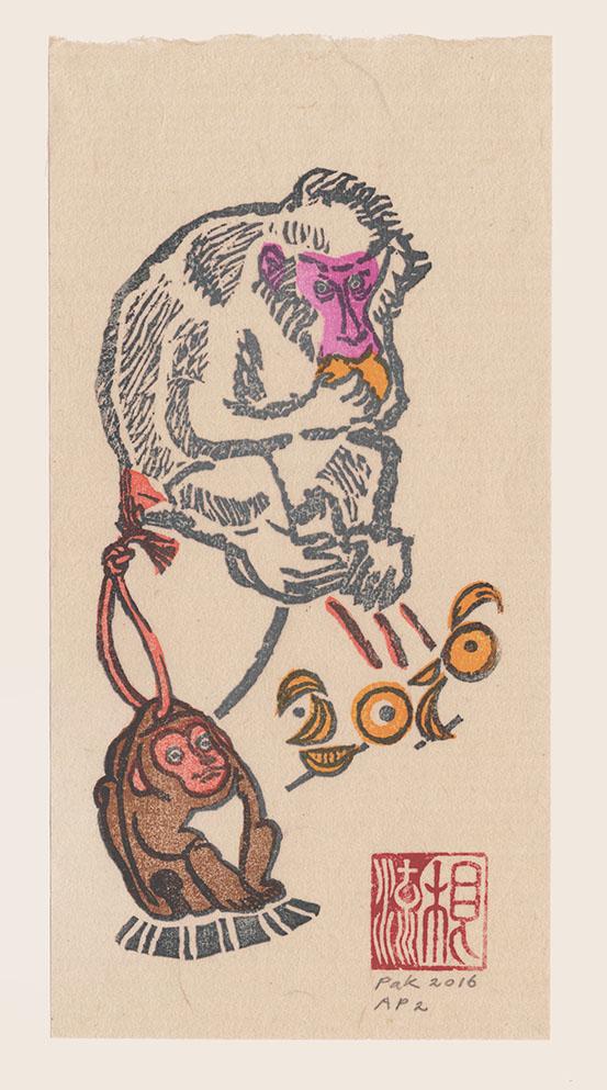 (Jaar van de) Aap, 2016, Japanse houtsnede, 21 x 10,5 cm, oplage van 181