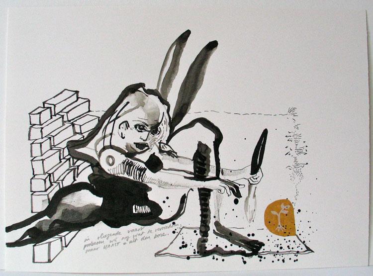 in vliegende vaart, inkt en collage op papier 2006, 26 x 36 cm