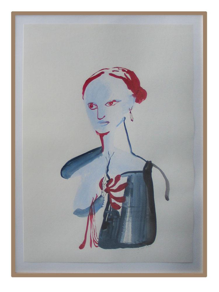 Vrouw rood blauw, waterverf op papier 2006, 100 x 70 cm