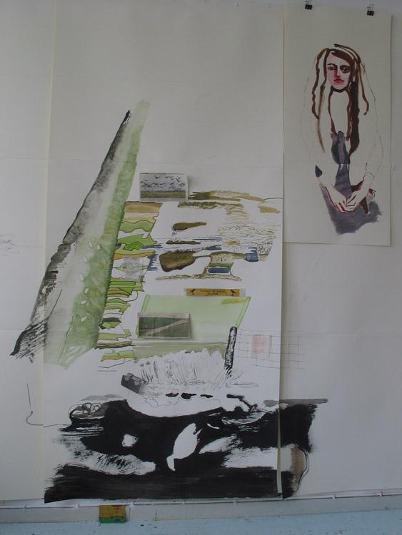 Atelier 14 juli 2008, met 'Eilandenrijk' in de maak