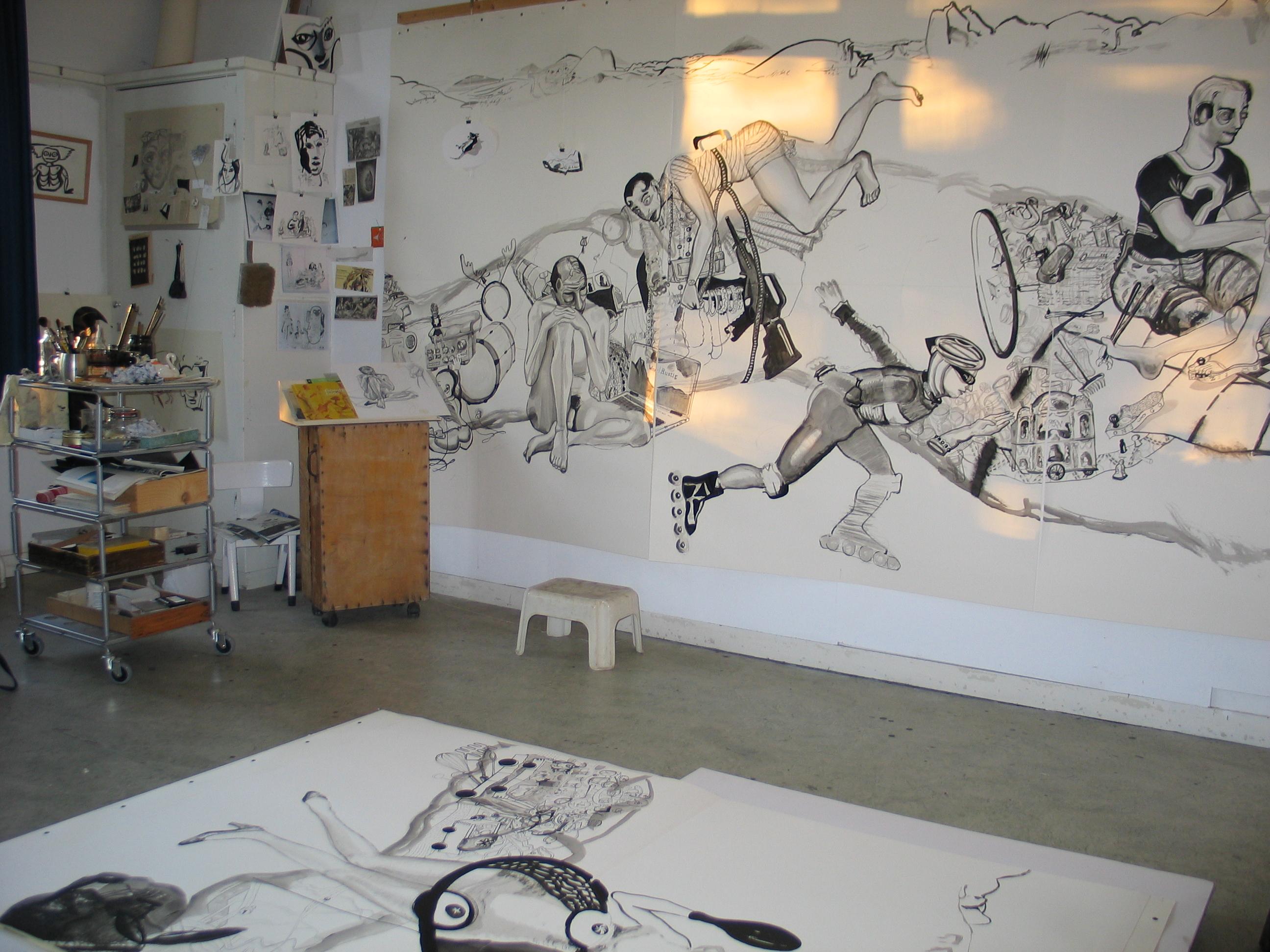 Atelier (Tulpstraat 19, Zeist), 18 mei 2004, tekening 'Necessary Objects' nadert voltooiing