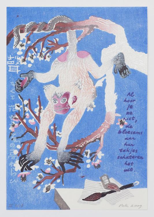Joy, 2009, 26 x 18 cm, oplage II van 18. De eerste oplage maakt deel uit van de portfolio 'Surimono International; woodblock and poetry' met 13 prenten van 'Nagasawa 13'