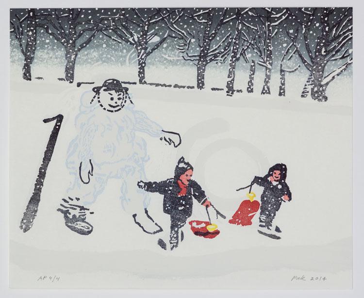 Snow men, 2014, 27 x 33 cm. De eerste oplage van 19 is onderdeel van de portfolio Yuki/Snow, met 14 prenten van 'Nagasawa 14'; oplage II tellt 35 prenten