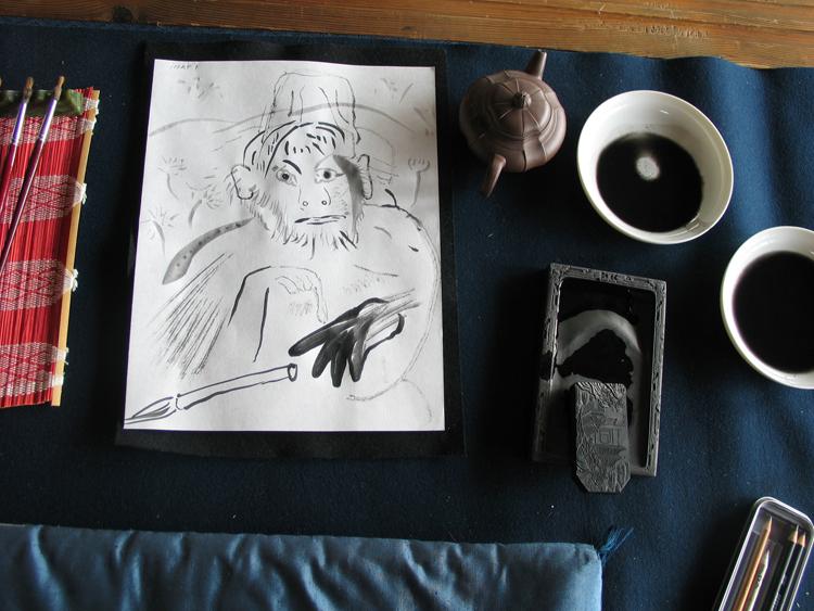 In een gastatelier van inktfabriek Boku Undo was ik in de gelegenheid om de verschillende tinten van zwart uit teproberen, aan het begin van mijn reis in 2010 door Japan. Nara, 23 februari 2010