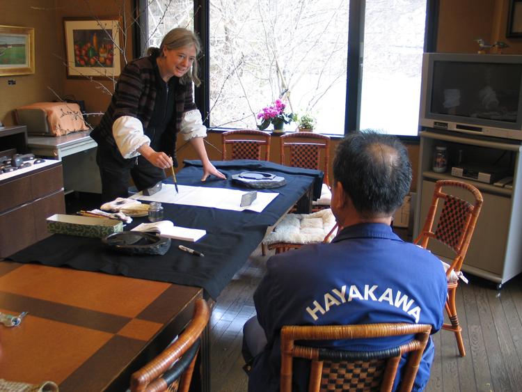 Nel Pak tekent portret van Gyokusen in Japan, 13 maart 2010 (Kenshoan suzuri (= inktsteen) museum, Hayakawa, Amehata)