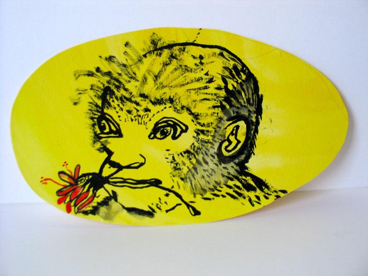 Aap op geel, inkt en waterverf op papier 2006